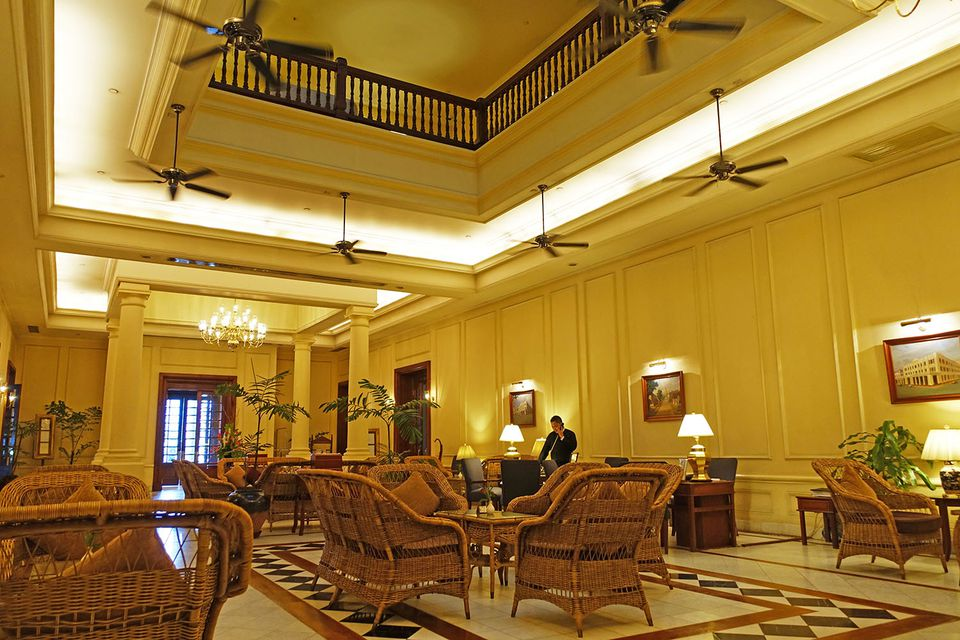 The Strand Hotel's lobby, facing the main entrance.