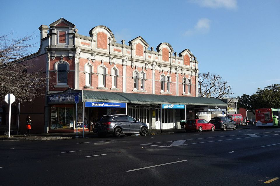 Shops on Ponsoby Road in New Zealand.