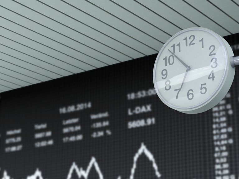 A clock in front of a stock ticker