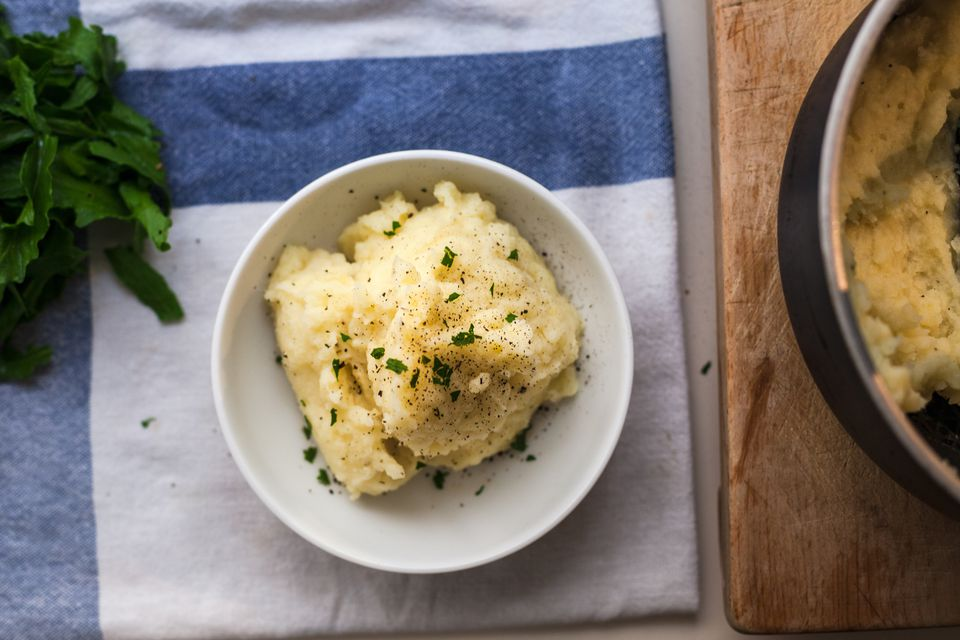 Homemade rustic mashed potatoes