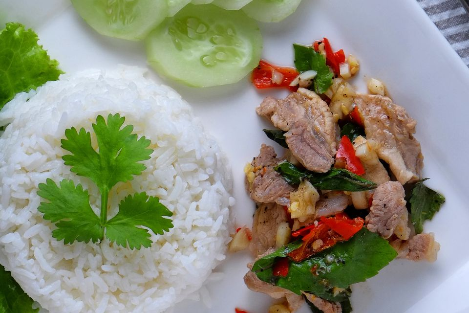 Basil pork stir fry