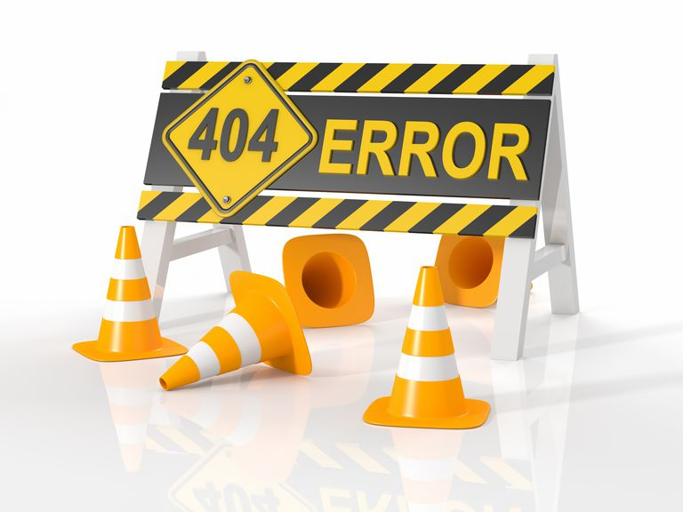 Picture of a 404 ERROR message with construction cones