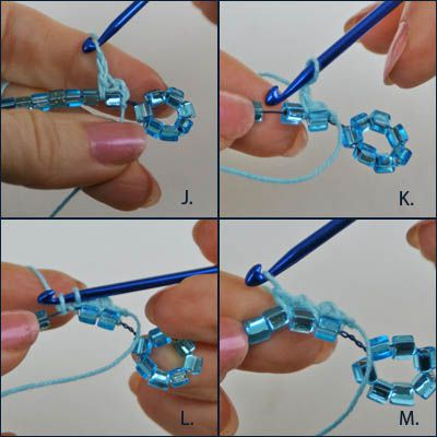 Incorporating the Crochet Work Into the String of Beads