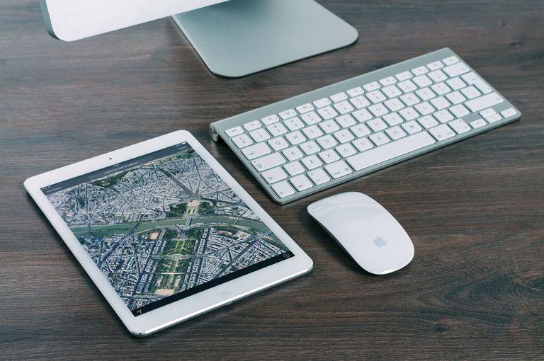 An iPad with Apple Maps