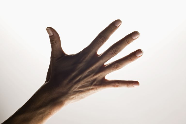 hand showing five fingers against white background
