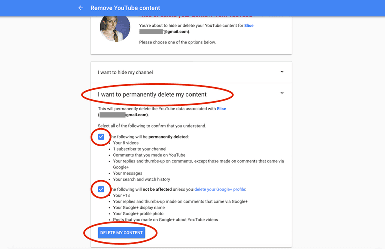 How to delete a youtube account confirm that you permanently want to delete your content google ccuart Images