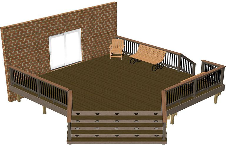 A rendering of a deck.