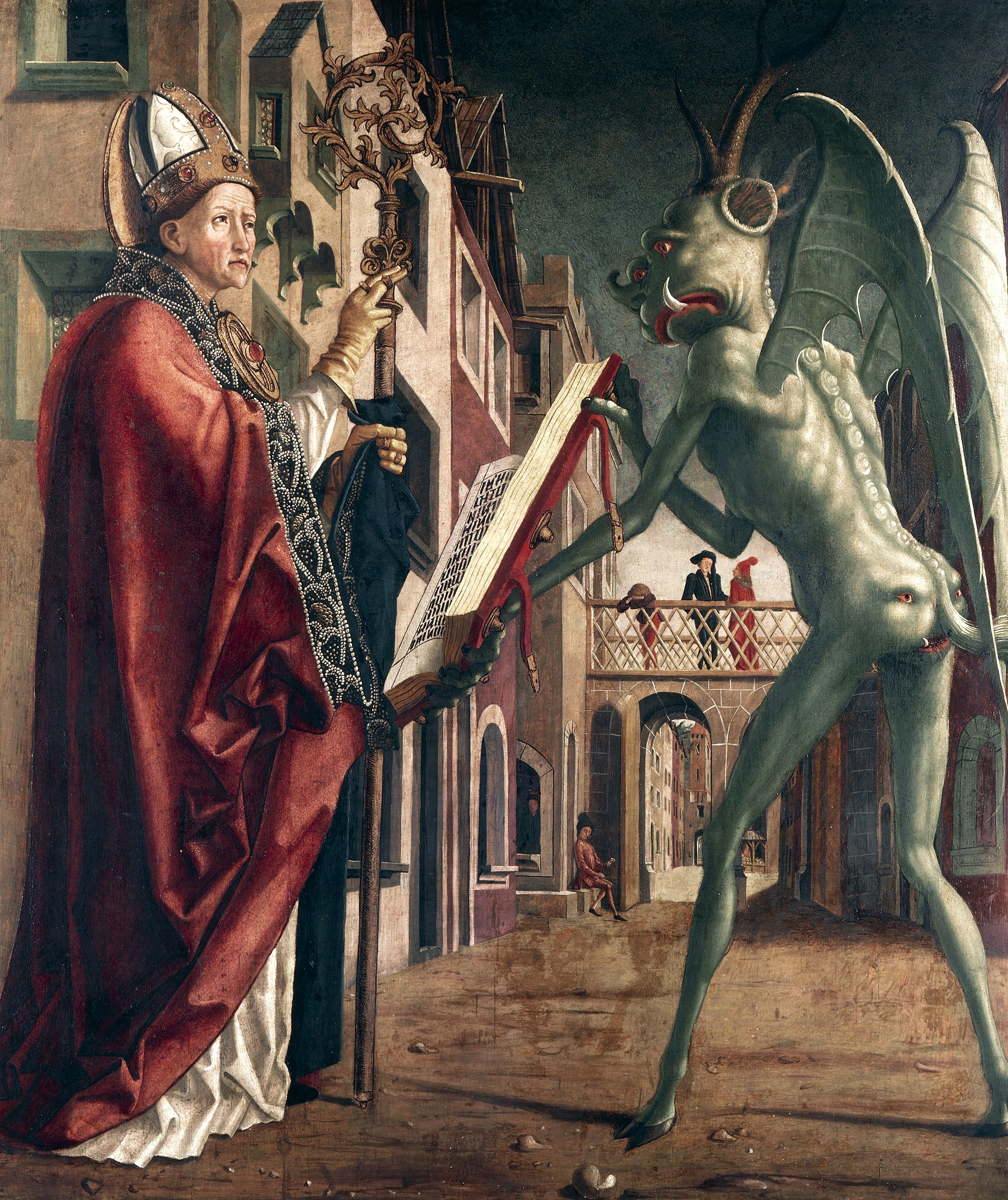 The satanic crown princes of hell st wolfgang and devil life of st wolfgang by michael pacher circa 1435 buycottarizona