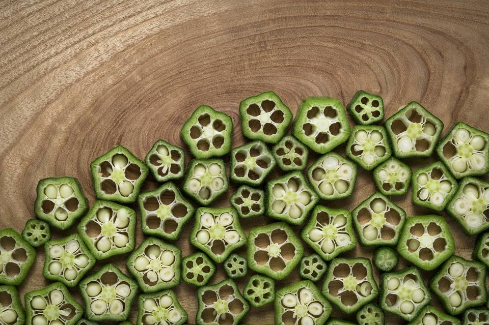 Okra Slices on Wood, Tree Ring Pattern