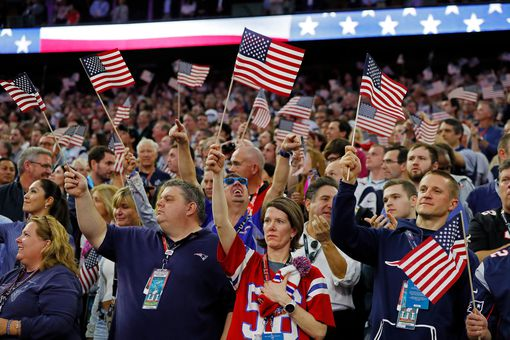 Americans waiving the flag