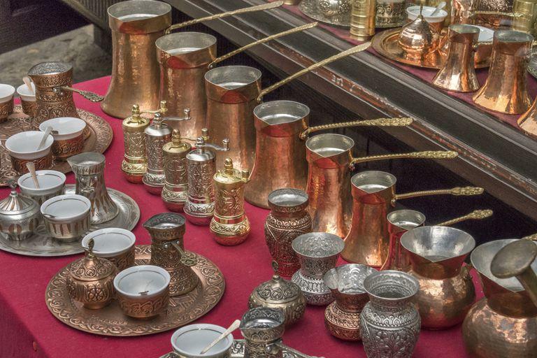 Copper and brass cezve display Sarajevo