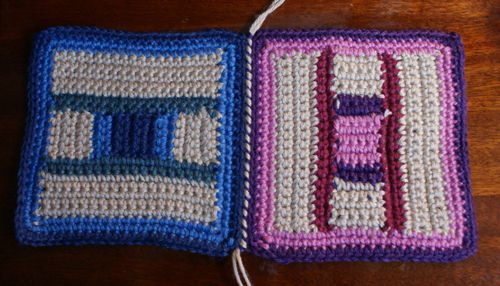 Crocheted Afghan Squares That Have Been Whipstitched Together