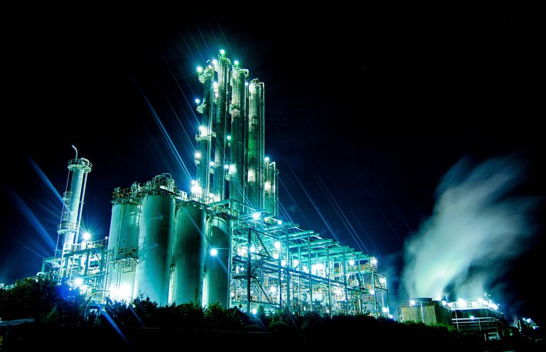 Petrochemical plants like this produce hundreds of everyday chemicals.
