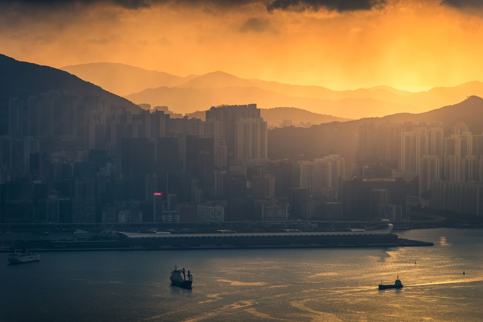 Early misty morning scene of Kowloon side, Hong Kong