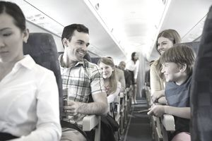 Smiling family traveling in airplane