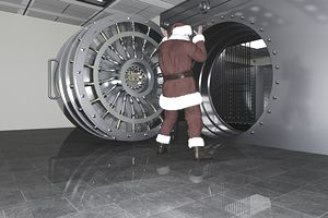 Santa at the door to a bank vault