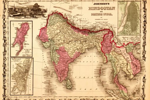 An 1862 map showed British possessions in Hindoostan, or India.