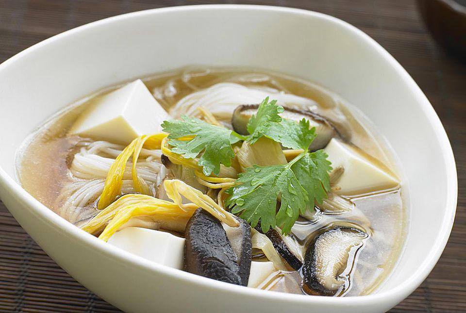 Thai tofu noodle soup