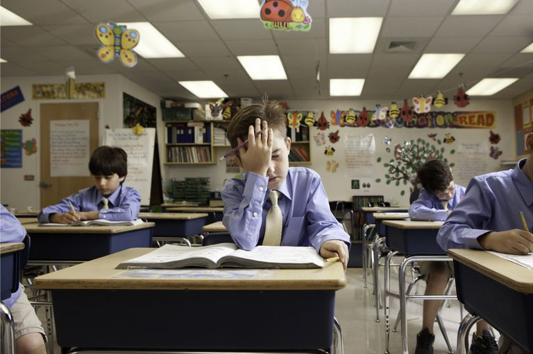 Frustrated Child in a Classroom