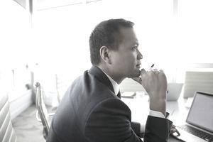 Focused, attentive businessman