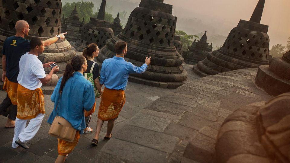 Tourists at Bagan in Myanmar.