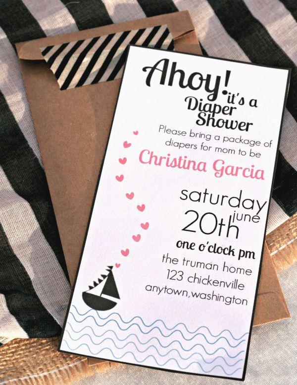 nautical themed baby shower invitation printable