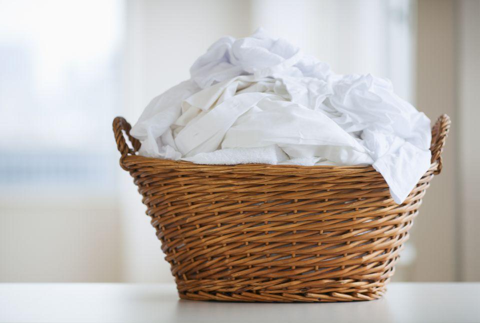 Basket of white laundry