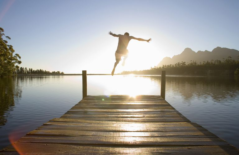 Jumping off a dock