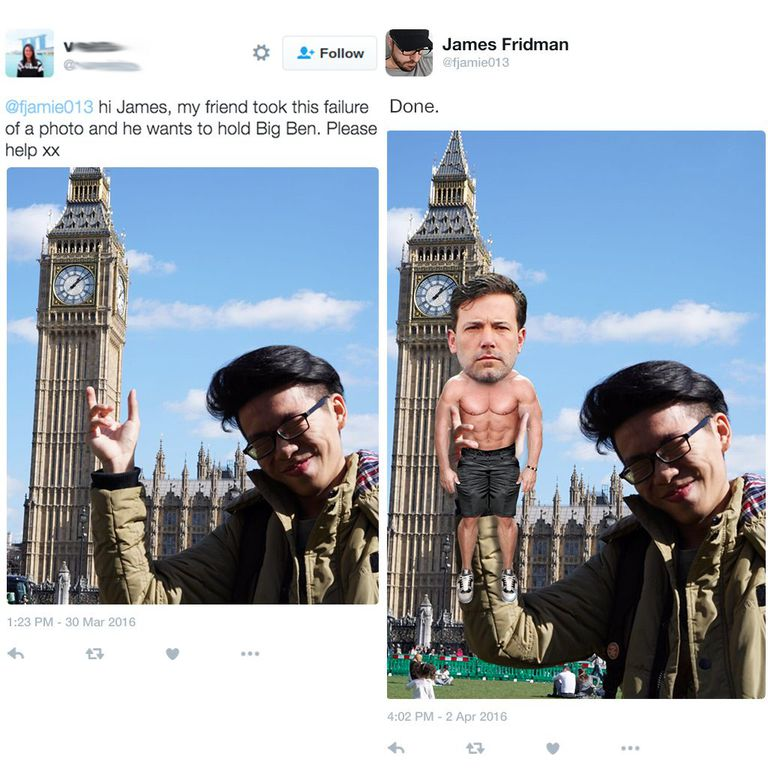 Photoshop Troll James Fridman Takes Requests Literally - 22 hilarious photoshop trolls part 2