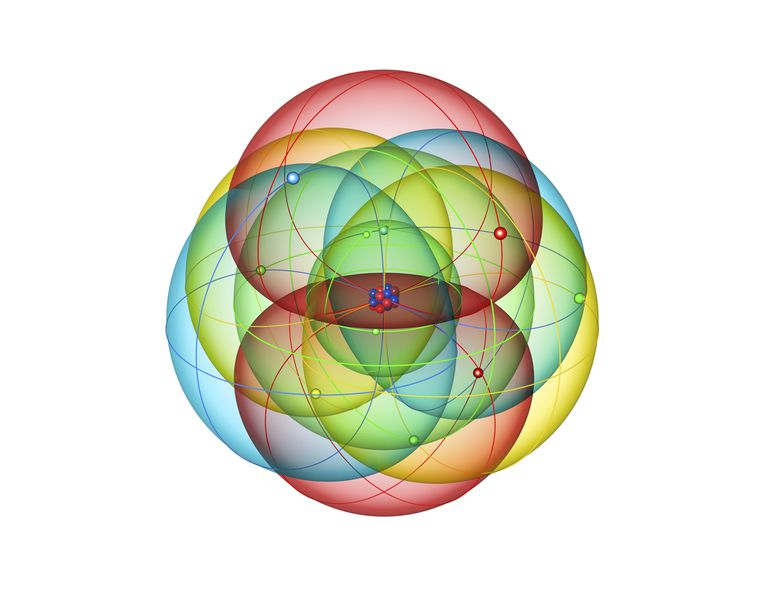 Neon atomic structure, computer illustration.
