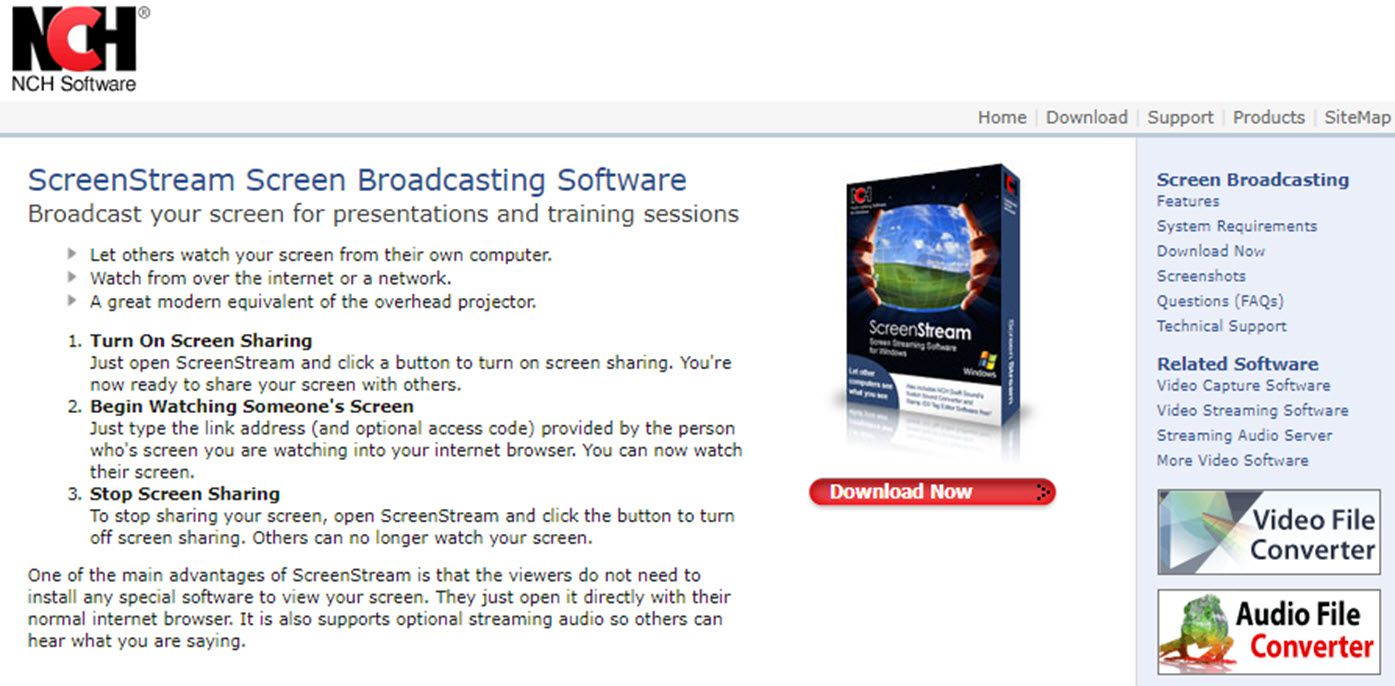 Screenshot of the ScreenStream Screen Broadcasting Software website.