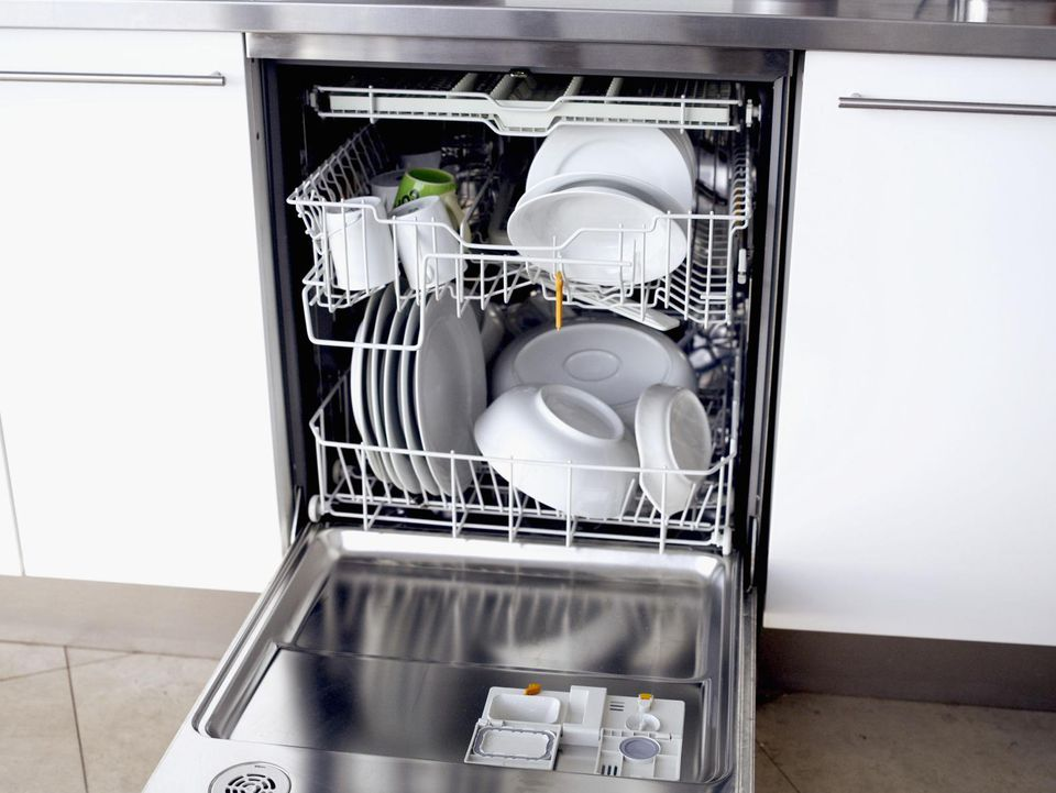 Close-up of a dishwasher filled dishes