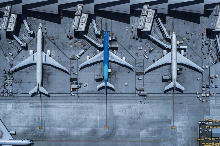 Los Angeles International Airport aerial view of three planes