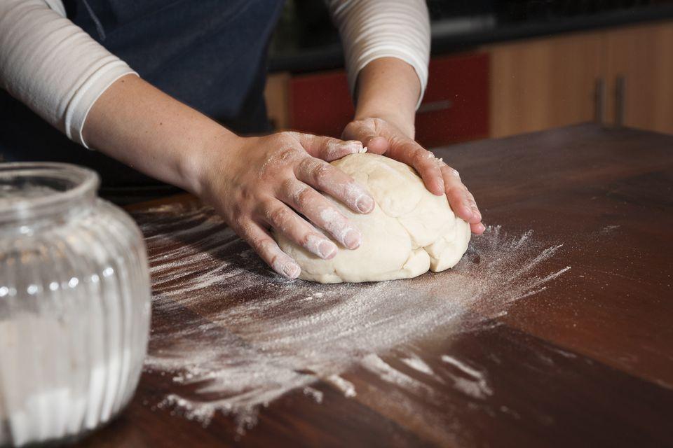 Preparing dough for empanadas, Cooking class, Bellavista district, Santiago, Chile, South America