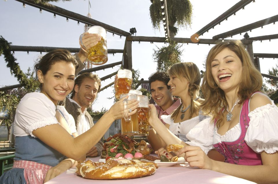 Celebrating Oktoberfest with food, beer, and friends.