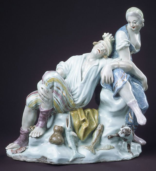 """Fisherman and companion"" by Capodimonte (Italian)"