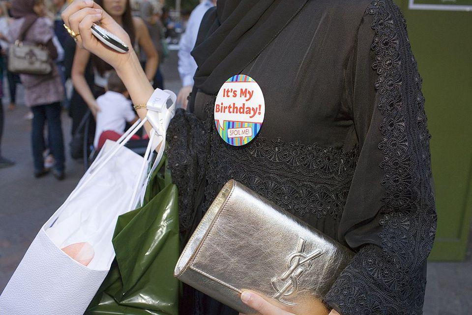 An arab woman wearing an