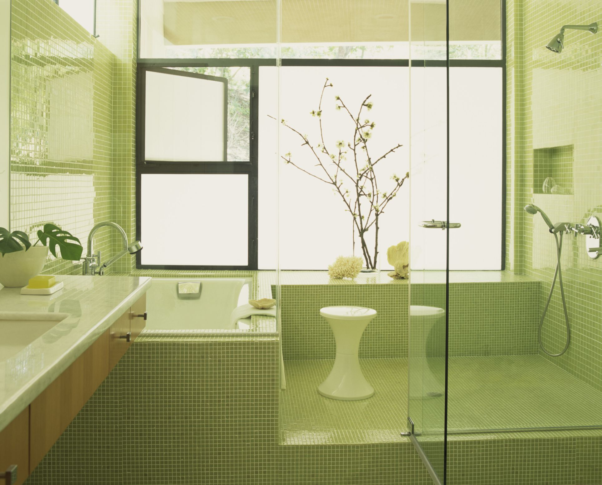 Bring green color to your bathroom with tiles dailygadgetfo Choice Image