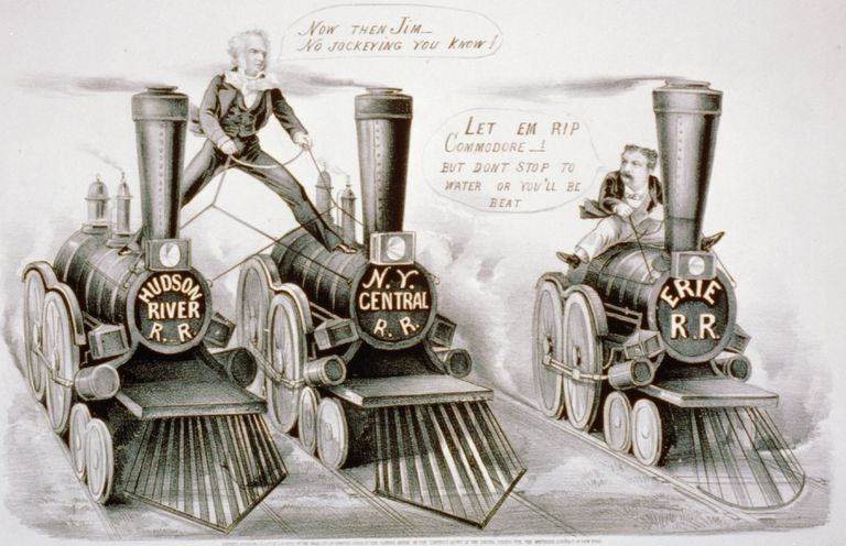 Illustration of Cornelius Vanderbilt and Jim Fisk competing for control of railroads.
