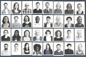 A collage of photos of people from various demographic data groups.
