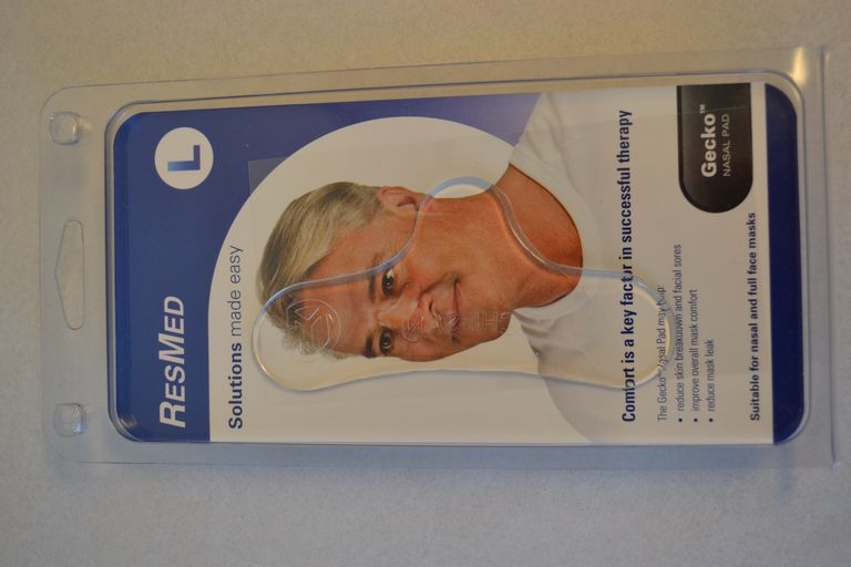 ResMed Gecko nasal pad cushions CPAP masks and relieves pressure sores in the treatment of obstructive sleep apnea