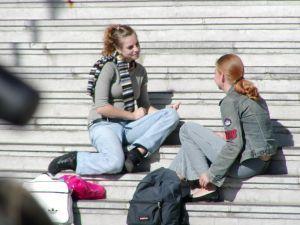 Teens Sitting on Steps