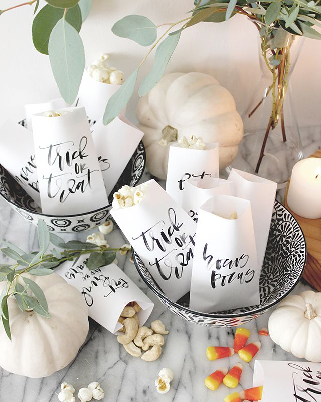 DIY Calligraphy Halloween Favor Bags