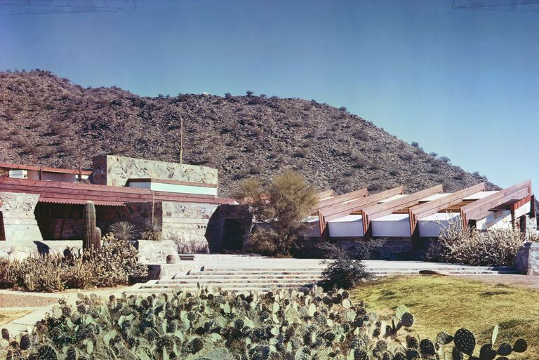 low, horizontal dwelling of stone and wood, organic architecture with cactus in foreground and a ridge in the background