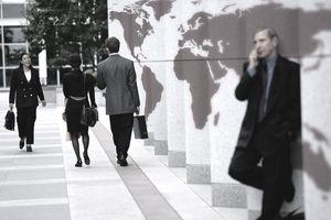 Businesspeople by World Map Columns