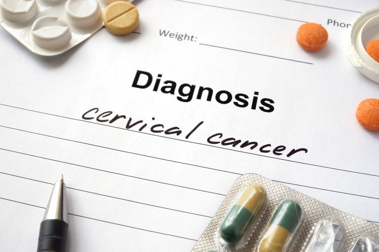 medical chart with diagnosis cervical cancer written on the front