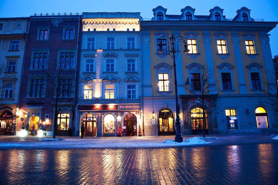 Poland, Krakow, Historic houses in main Square