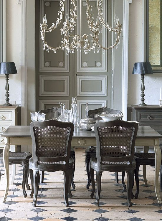 Traditional Gray Dining Room