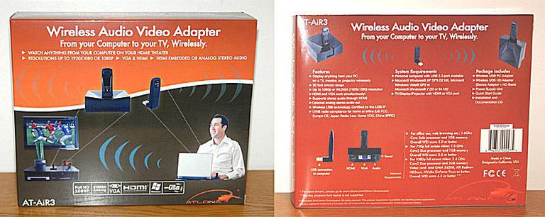 Atlona AT-AiR3 PC to Computer Monitor/HDTV Wireless Adapter - Box - Dual View