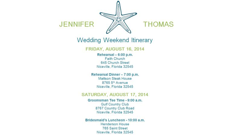 Free wedding itinerary templates and timelines a wedding itinerary template in green and blue pronofoot35fo Images